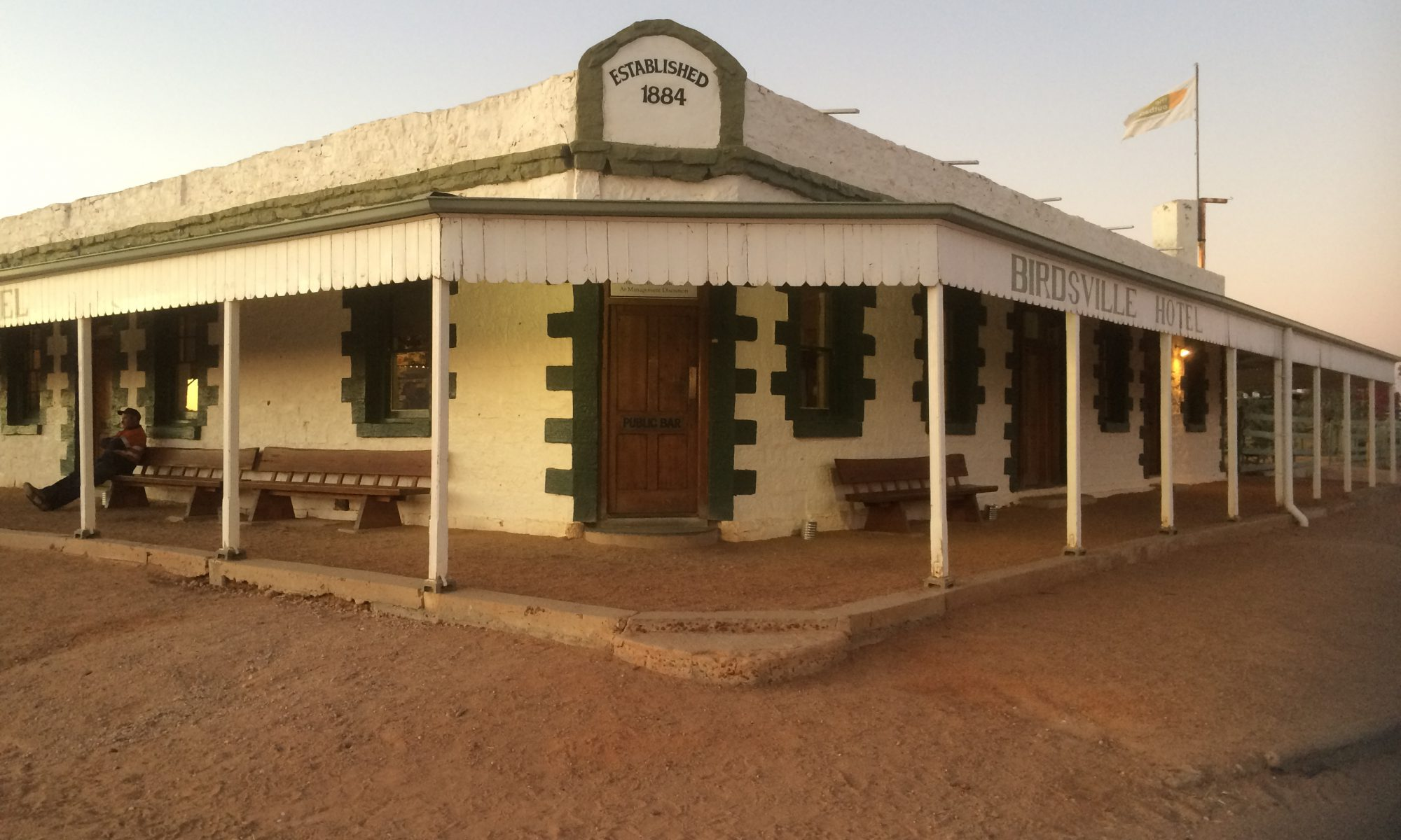 Birdsville Hotel Pub at sunset